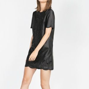 Black Leather Effect Embroidered Zara Dress